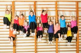 Children hanging on bars
